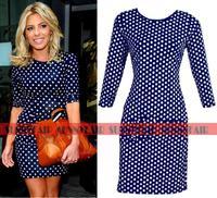 2014 New Fashion Women Celebrity Vintage Polka Dot Bodycon Slimming Party Dresses Pencil Dress S,M,L,XL
