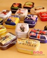 Free Shipping! 32pcs/lot European Vintage Style Mini Tin Box Storage Case Jewelry Box pill box 16 designs  New Fashion