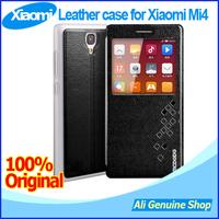 In Stock! OPEN Windows View Leather cases for Xiaomi Mi4 mi4s,Xiaomi mi4 Smart phone case + Gifts