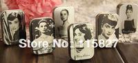 Free Shipping! 12pcs/lot Audrey Hepburn painting series Mini Tin Box Retro Metal Jewelry Case Storage Case 6 design pill case