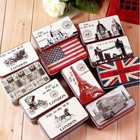 [Express Free Shipping] 20pcs mix  design Small iron storage box for candy jewelry cigar earphone Mini tinplate gift coin box