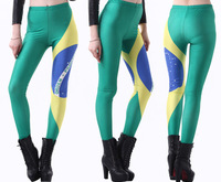 Seven Sea Sales Thin Star Spring 2014 Digital Printing Sexy Leggings Brazilian Flag Fitness Clothing For Women Free Shipping