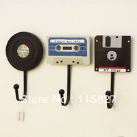 Free Shipping! 3pcs/lot Vintage Style Tape Disc and CD design Iron Hook Hand-painted Resin Hook High Quality Home Decoration