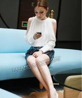 2014 New Brand Women Clothing Blusas Femininas White Long Sleeve Off The Shoulder Buttons Blouses Chiffon shirt AY850995