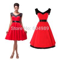 Red&Black Short 50s 60s 70s Pinup Rockabilly Dresses Cotton Party Vintage Retro Audrey hepburn Swing Evening Dress CL4597