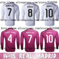 real madrid home soccer jersey 2014 2015 james shirt ronaldo soccer jersey sergio ramos zidane marcelo 14 15 Free Shipping