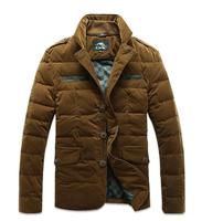 2015 Men's Winter 90 duck down Jacket Cotton-padded Corduroy Vintage Outerwear Coat Design Wadded Jacket Big Plus Size XXXL Coat