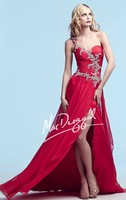 Hot Sell ! Long One Shoulder Chiffon Designer Amazing Evening Gown, Party Dress  2014 with Intricate Beaded Patterns