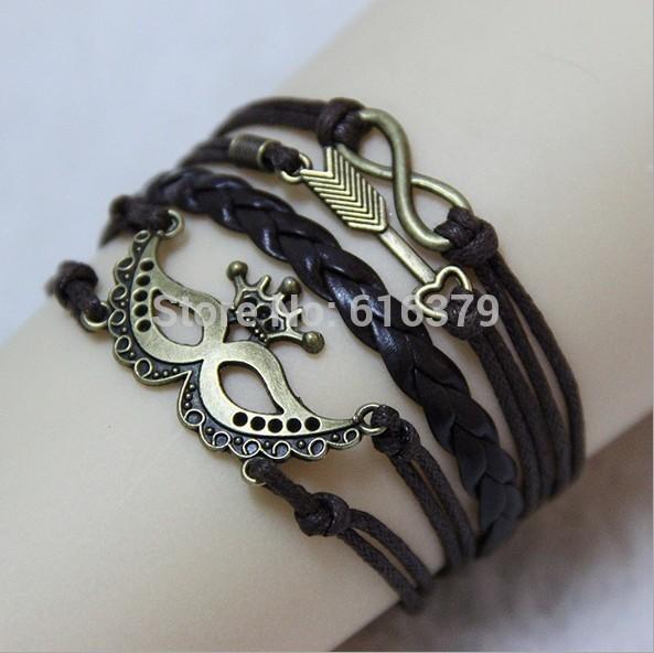 6PCS Lot 2014 New Arrival Infinity Cupid Arrow Mask Charm Bracelet Vintage Wax Leather Braid Bracelets