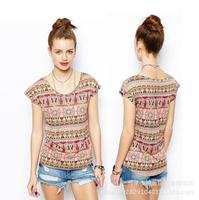 Hot Sale New 2014  Fashion sexy Summer New Print short sleeve t shirt O-Neck silk tshirt Women clothes Tops Tees Free shipping