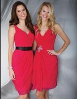 Cheap High-quality Fashion Women Sleeveless V-neck Knee Length Chiffon Pleat Beading Formal Red Party Cocktail Dress Short