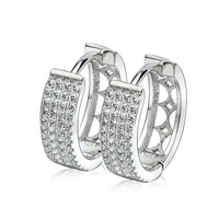 GNE0996 New Arrival 925 Sterling Silver Earrings Fashion Mirco pave Clip Earring Diameter 17mm For Women Free Shipping Wholesale