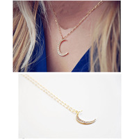 2pcs Womens Classic Romantic Shiny Rhinestone Crescent Moon Pendant Sweater Necklace