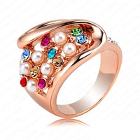 Retail-Free Shipping 18K Rose Gold Plating Noble Multicolor Austrian Crystal Engagement Rings Wedding Jewelry Ri-HQ0203