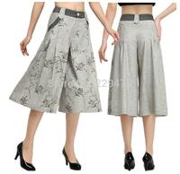 Gray overall Women's capris 2014 SUMMER Studio pants Women loose pant FREE SHIPPING drop crotch dress pants HOT calca feminina