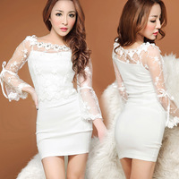2014 hot sale women's aesthetic sexy short skirt lace gauze diamond decoration pearl