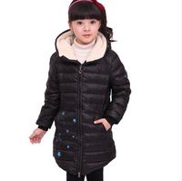 Fashion Children Girls Winter Warm Parkas Star Print Medium Long Slim Zipper White Duck Down Jacket Coats Kids Thick Outerwear
