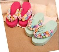 The original manual rural sweet art flower resort style Flowers high-heeled slippers