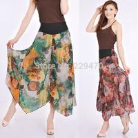 Women's capris 2014 SUMMER Studio floral flower pants Women loose pant FREE SHIPPING drop crotch dress pants HOT calca feminina