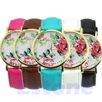 Women Fashion Candy Color Geneva Rose Floral Quartz Analog Simple Style Wrist Band Watch