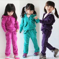 2014 Real {jx} 007 Spring Autumn Baby Girls Sport Suit Set Long Sleeve Hoodies Sets Children T Shirt+pants Outerwear Clothing
