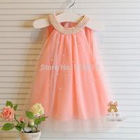 New hot 2014 Korean girl dress,children fairy chiffon clothings,high quality kids clothes,2-7yrs baby girl pearls collar dresses