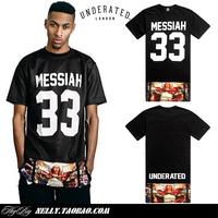 """New arrival 2014 KTZ Hip hop skateboard t-shirt """" side zipper """" lengthen design men's clothing short sleeve o-neck dress shirt"""