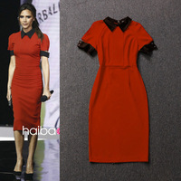 Victoria 2014 slim dress color block decoration short-sleeve turn-down collar one-piece dress