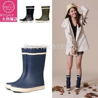 New 2014 Mixed Colors Women Fashion Rubber Rain Boots Blue Yellow Colors Flat Heels Short Rainboots Mid-calf Water Shoes#TS122