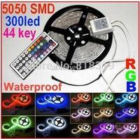 SMD 5050  waterproof 12V  300LED Free shipping white/cold white/warm white/red/blue/green/yellow/RGB LED strip+44 keys IR Remote