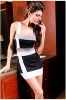 Black and white Striped sleeveless style Lady dress package hip new club nightclub  Free Shipping