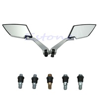 A31 New Arrive Universal Motorcycle Rear View Side Mirror Diamond Black 8mm 10mm