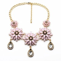 2014 Pink Flower Statement Choker Necklace Party Necklace Cocktail NecklaceMin $20(can mix)  Free Shipping