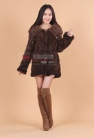 2014 New genuine mink  fur coat long style fashion warm turn -down collar with zipper pocket women fur EMS/DHL free shipping