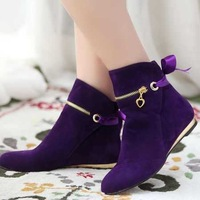 2014 New Cute Style Bowtie Five Colors Ankle Boots For Women Flat Short Shoes Round Toe Solid Winter Boots Big Size 43