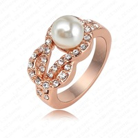 Retail-Free Shipping Elegant Fashion Ring Real 18K Rose Gold Plated Genuine Austrian Crystal Shell Pearl Rings Engagement Ring