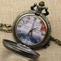 2014 New Bronze Eiffel Tower Rome Numbers Quartz Pocket Watch Necklace Pendant P190