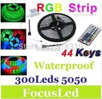 SMD 5050 waterproof 12V  300LED+free shipping 44 keys IR Remote cold white/warm white/red/blue/green/yellow/RGB LED strip 40set