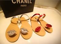 Summer sexy personality diamond lips flat women slippers