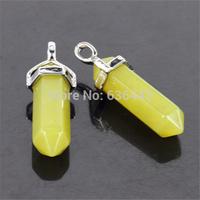 10pcs/lot Natural Lemon Jade Gems Agate Stones Hexagonal Point Reiki Chakra White-K Jewelry Necklaces Earrings Pendant Beads