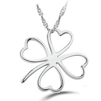 Simple Love Clover Pendant Necklace,925 Sterling Silver on 3 Layer Platinum Plated,100% Allergy Free,Wonderful Necklace ON67