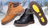 Retro Winter Boots Snow-style Fashion Riding Men Boots Men's Shoes Fishing Rubber Boots Bota Plus Velvet Black Hunt Labor