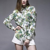 2014 New Women Ladies Green Flowers Floral Print Long Sleeve Cotton Blouse Woman European Casual Lapel Collar Autumn Tops A686