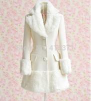 New Arrival Quality Women's Slim Coat Elegant Turn-Down Collar Fake Fur Embellished Long Sleeve White Coat For Women In Winter