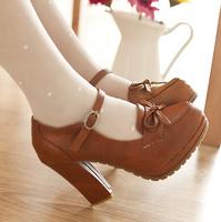 2014 women sweet bowtie platform pumps 11 cm high heels lolita shoes japanese uniform shoes cosplay shoes black brown beige