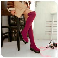 2014  spring autumn winter Blue, black, red knee-heigh  btop leg stretch grinding otas  heel high 6.5cm have big size 32-43