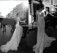qn-92 new custom made sexy beads appliques deep v-neck sheer long sleeve mermaid low back long lace wedding dress china 2014