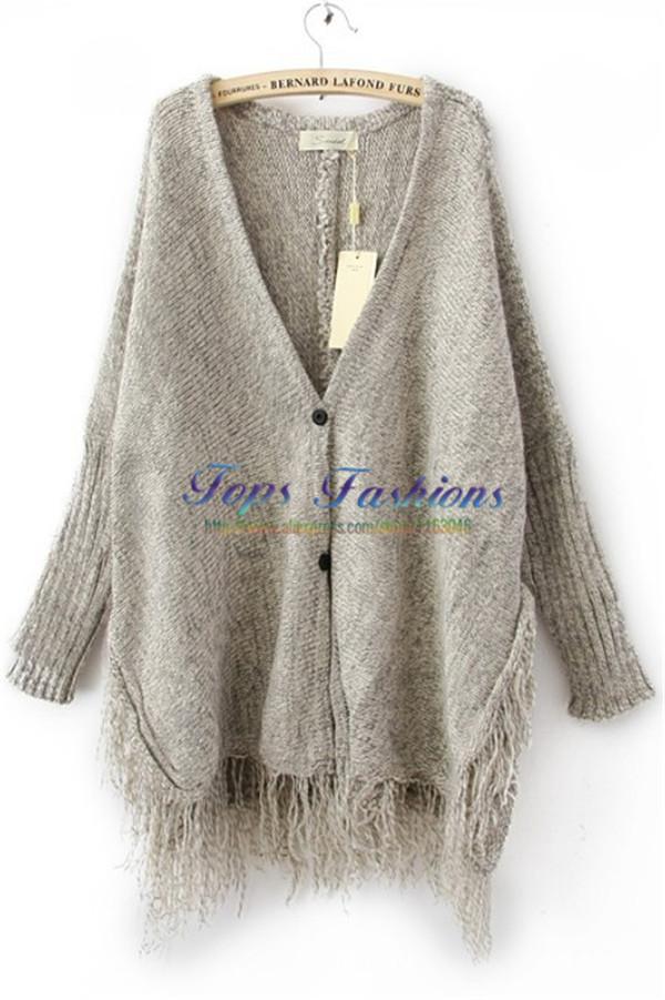 Autumn New Desigual Fashion Women Hot Sale Casual Sweater Coat Light Grey Batwing Long Sleeve V-neck Tassel Hem Loose Cardigan(China (Mainland))