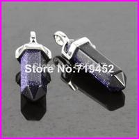 Newest Natural Blue Sandstone Gem Stone Hexagonal Point Reiki Chakra White-K Jewelry Necklaces Earrings Pendant Beads 10pcs/lot