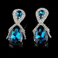 High Quality Water Drop Luxury Rhinestone Earrings for Wedding Bridal Fashion Accessories. Brand Lady Evening Crystal Earrings